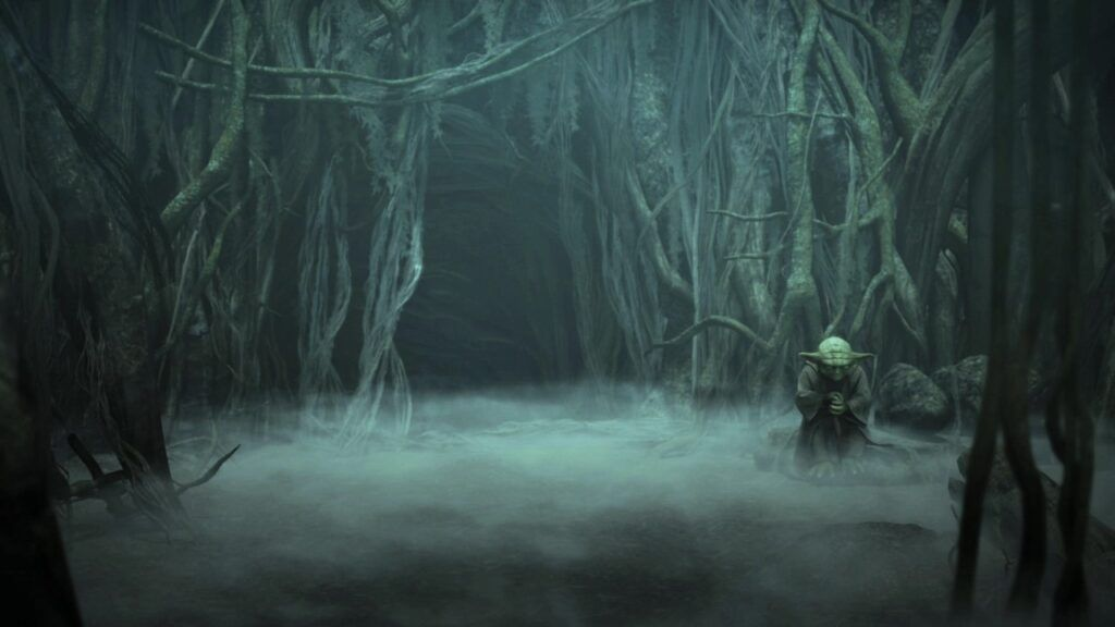Yoda in front of a cave